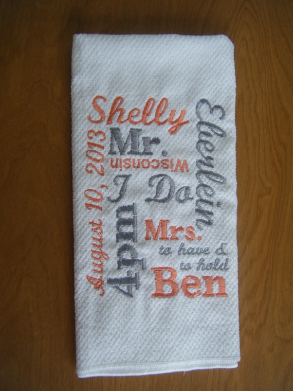 Personalised Wedding Gifts Towels : Personalized Kitchen Towel - Wedding Gift - Bridal Shower Gift ...