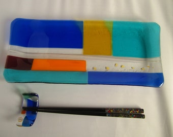 Glass Appetizer or Dessert Plate (Rectangle - Blue & Light Blue)