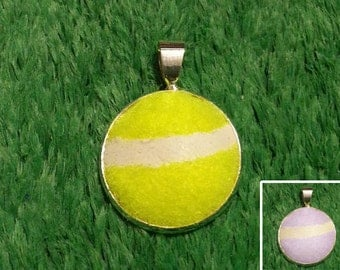 Real Tennis Ball Necklace Pendant - Handmade Necklace Pendant From a Yellow or Pink Tennis Ball