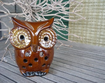 Vintage Ceramic Owl Candle Holder, Retro Luminary