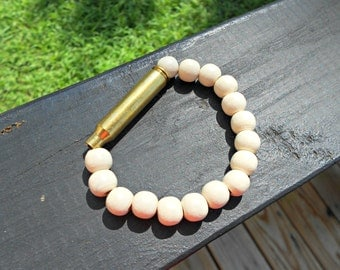 Cream Wood Ammo Bracelet