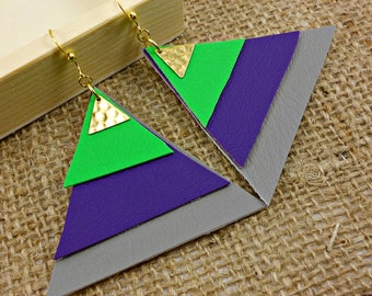 Vegan Leather Pyramid Earrings in Grey, Purple, and Green