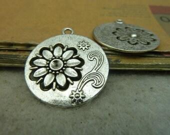 10PCS antique silver 27mm round  flower charm pendant- WC4359