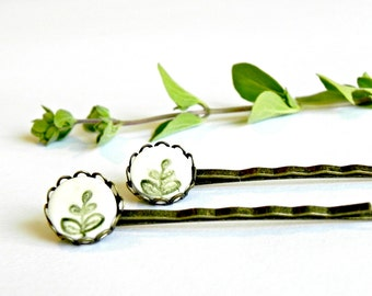 2 Ceramic Bobby Pins Green Leaves White Porcelain Antique Bronze Lace Round Tray Straight Hair Clips