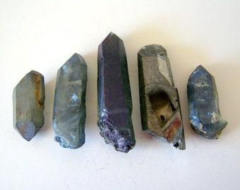 grey blue titanium treated crystal quartz points - top drilled - 5 pcs