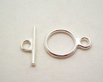 12mm silver tone toggle clasps - 5 sets