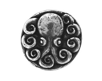 Green Girl Octopus 5/8 inch ( 15 mm ) Pewter Metal Button Antique Silver Color