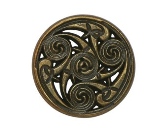 6 Celtic Swirls 11/16 inch ( 17 mm ) Metal Buttons Antique Brass Color