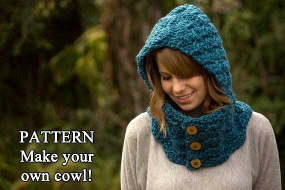 Hooded Neck Warmer Knitting Pattern : CROCHET PATTERN Hooded Cowl, Button Neck Warmer, Crochet Hoodie Instant Downl...