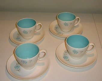 """Vintage Taylor, Smith and Taylor """"Boutonniere"""" Pattern Cups & Saucers, Set of 4"""