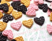 Heart Cookie Love letter Cabochon 17mm (3pcs) Kawaii Dollhouse Miniature Sweets Cabochon Fake Biscuit Decoden Kitsch Jewelry ca075