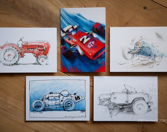 Motoring Art - Set of 5 Blank Cards - Miscellaneous
