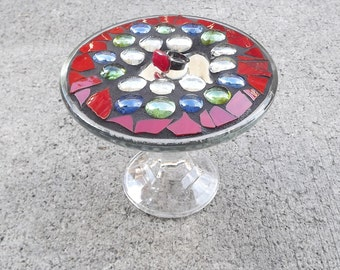 Mosaic Mirror Raised Display Tray, Jewelry Tray, Vanity Display, Home Decor Tray, Trinket Tray, Stained Glass Display Tray, Home Decor,