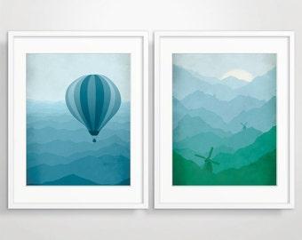 Nursery Wall Art Set, Nursery Decor, Kids Room Decor, Art Print Set for Kids, Hot Air Balloon, Windmill, Whimsical Art