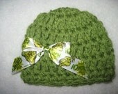 Crochet Baby Hat Photo Prop READY To SHIP Newborn Green With Removable Grinch Ribbon Bow