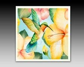 Hummingbird Ceramic Tile with Hook or Coaster