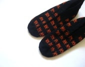 SALE womens slippers, girls slippers, black and orange knitted slippers, gift for girls women, crochet slippers home shoes woman gifts