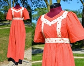 1970s Vintage Red and White Swiss Dot and Apple Prairie Dress size XS S bust 32