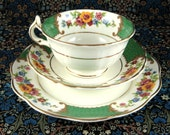 Allertons 1930s Cup and Saucer With Matching Plate Georgian Floral Green Teacup Trio