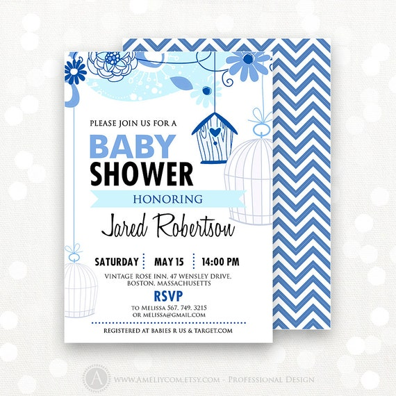 winter baby shower invitation printable blue chevron striped and