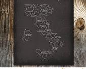 Taste of Italy Italian Culinary Map Art Print Kitchen Wall decoration poster Italy map gastronomy chalkboard Italian cuisine