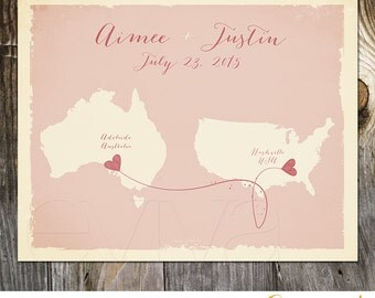 Blush Australia USA Custom Wedding Print Destination Wedding Gift Memento Marriage Couple print Signature Guest Books Alternative