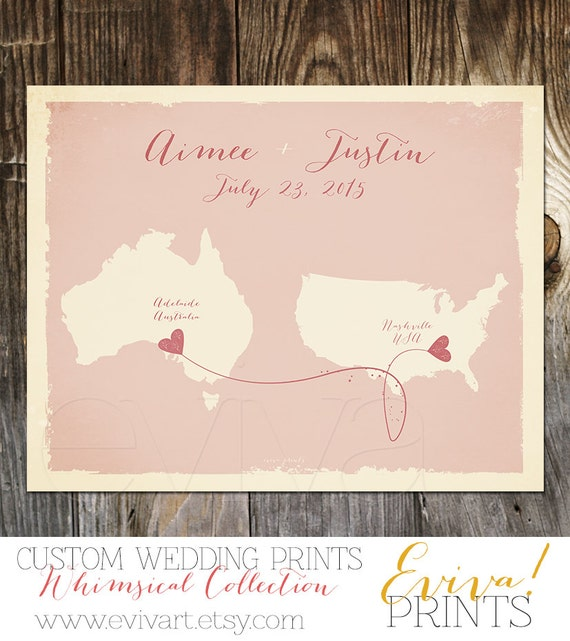 Blush Australia USA Custom Wedding Print Destination Wedding Gift ...