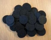 100 Black Felt Circles - 1 inch