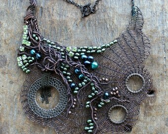 THE SUMMER NYMPH Statement Copper Wire Crocheted and Green Pearls Bib Necklace/ Large Extravagant Unique Necklace. Made to order.