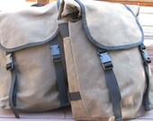 Brown Waxed Canvas Bicycle Panniers with Black Cordura Interior