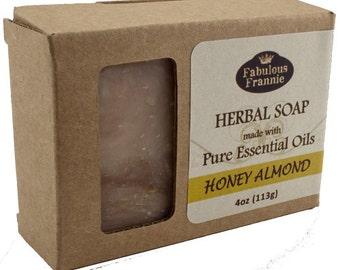 Honey Almond All Natural Herbal Soap Bar 4 oz