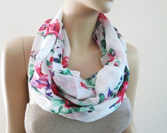 Red Floral Scarf Infinity Circle White Scarf Pink Rose Linen Scarf Shawl ON SALE