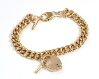 Antique Victorian 15k Rose Gold Heart Lock Bracelet with key