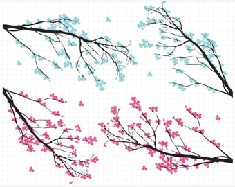 Branches / Cherry Blossoms Clip Art / Digital Clipart - Instant Download