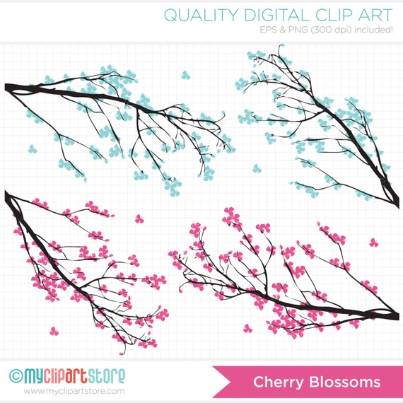Branches / Cherry Blossoms Clip Art / Digital Clipart