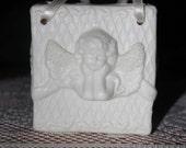 Porcelain Trinket Bag Romantic Valentine's Day Cupid Cherub Ivory Ribbons Rose
