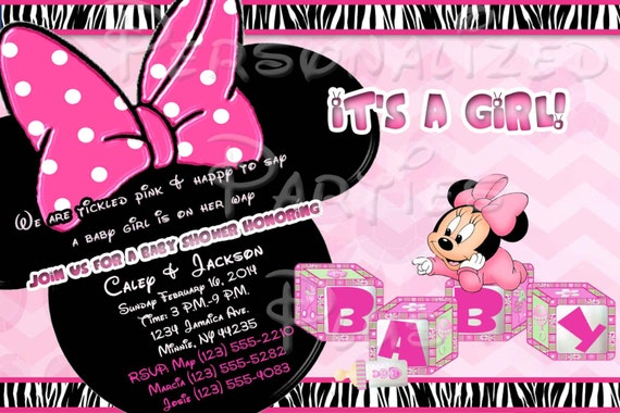 baby minnie mouse baby shower invitation downloaded by partiesplus