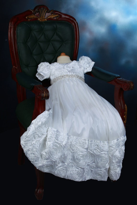 White Rosette Christening Gown Sparkling Rhinestone By