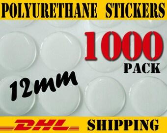 1000 Pcs. Round 12mm Clear PU (Polyurethane) Stickers