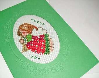 Little Christmas Angel Cross Stitch Card Finished Completed Envelope ~Ready to mail~