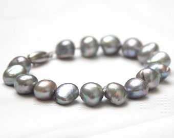 Pearl bracelet large freshwaterpearls offround silver gray