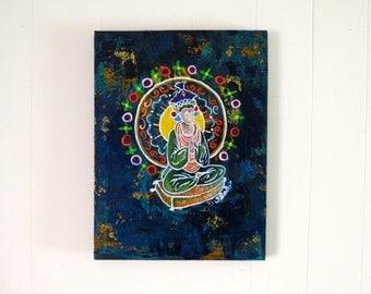 Meditating Woman Sitting Artwork - Hindu Buddhist Style Original Painting Black Background Colorful