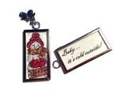 Hand Painted Snowman Pendant with silver mittens charm - CountryImages