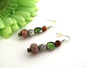 TossOn Earrings Rose Garden in Dusty Mauve Lampwork Beads, Leaf Green, and Earthy Brown Glass with Silver Accents