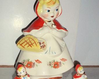 HULL Little Red Riding Hood Cookie Jar 135889 Salt & Pepper Shakers Gold Trim Open Basket 3 Poppies