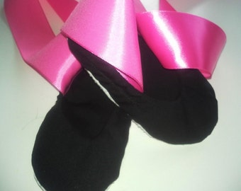 Baby Toddler Ballet Flats Shoes in Black with Pink Ribbon