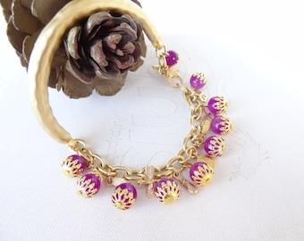 Plum Purple Bracelet, Charm Bracelet, Gold Bracelet, Stones Bracelet,