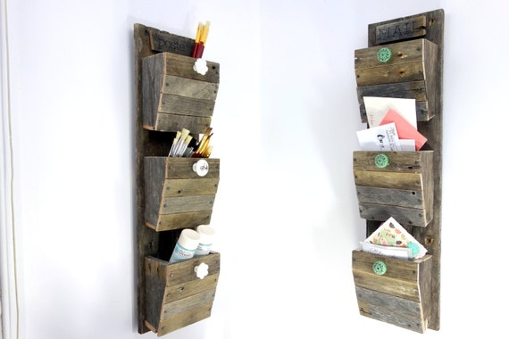 mail organizer reclaimed wood wall hanging entry organizer