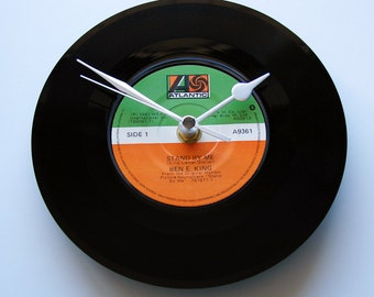 """Ben E King CLOCK made from a recycled Vinyl Record """"Stand By Me"""" or """"Spanish Harlem"""" 7"""" single. Wall clock rock n roll soul r+b music gift"""