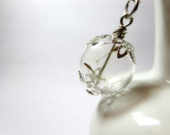 Dandelion necklace-  Make A Wish Glass  pendant - Dandelion  ring -Seed Transparent Round real  Flower